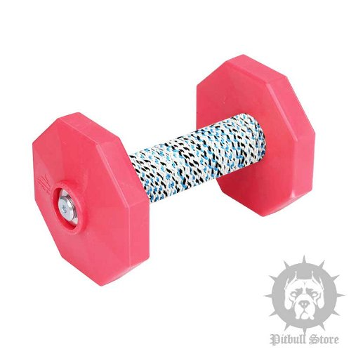 Dog Dumbbell UK with Red Weight Plates and Covered Bar, 1.4 Lbs - Click Image to Close