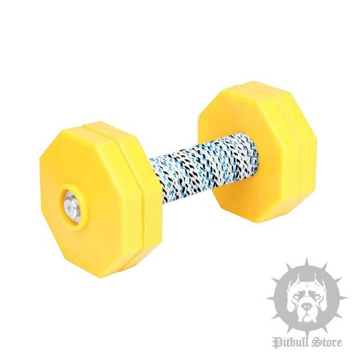 Dog Obedience Dumbbell with 4 Yellow Plastic Weight Plates, 1 Kg - Click Image to Close