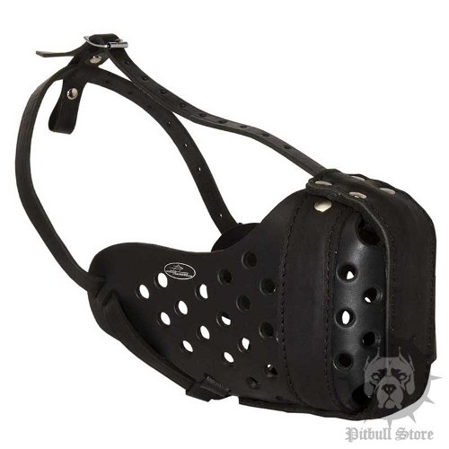Strong Dog Muzzle for Pitbull Training of Genuine Leather