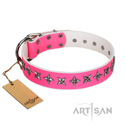 "Female Pitbull Collar ""Star Dreams"" Pink Leather Artisan"