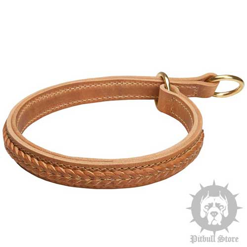 Two-Ply Leather Choke Collar with Braided Adornments