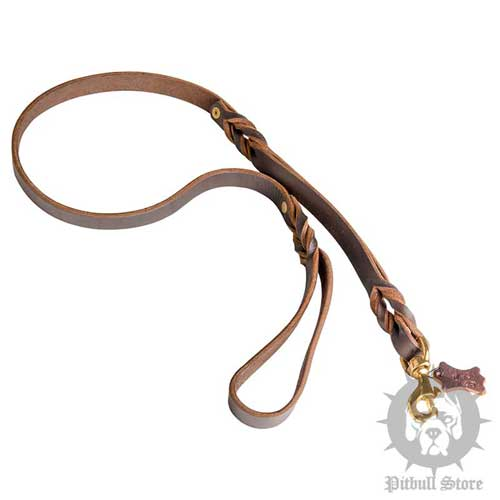 Leather Dog Lead with Additional Handle for Pitbull Control
