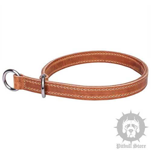"Leather Slip Collar with Stitching - ""Silent Trainer"""