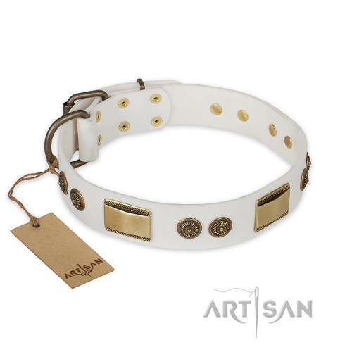 "Pitbull Leather Dog Collar Artisan ""Golden Avalanche"""