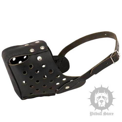 Police Style Dog Muzzle with Holes and Felt Covered Steel Bar