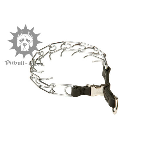 "Staffy Pinch Collar with Leather Loop & Snap-Buckle, 1/8"" - Click Image to Close"