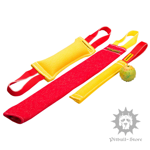 Colourful Puppy Training Set of French Linen Tugs + Gift Ball