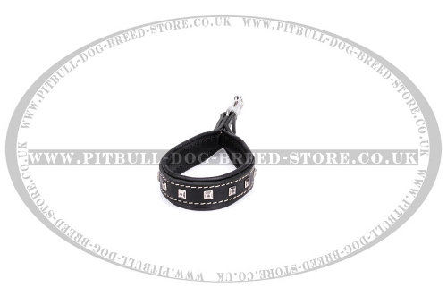 Short Dog Lead Handle Nappa Padded and Studded