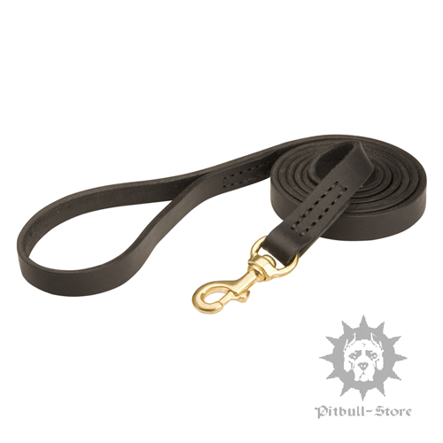 Classic Staffy Dog Lead with Brass Hardware - Click Image to Close