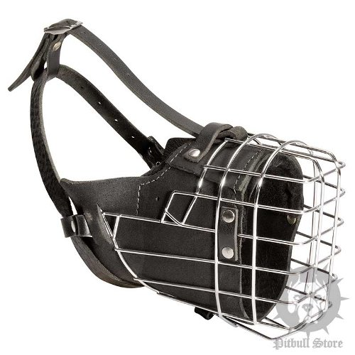 Leather Coated Wire Basket Dog Muzzle for Working Pitbulls