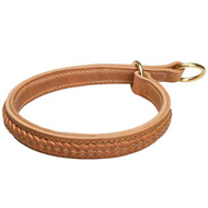 ❷-ply Leather Choke Collar with Braided Adornments