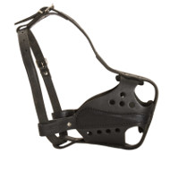 Muzzle for Dogs of Leather, Adjustable, Nickel-plated Fittings