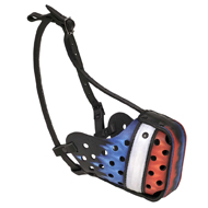 France Flag Painted Leather Dog Muzzle for Pitbull