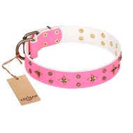 """Chi-Chi Pink Rose"" FDT Artisan Girly Pink Studded Dog Collar"