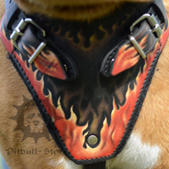 Pitbull Harness with the Cool Flame Design