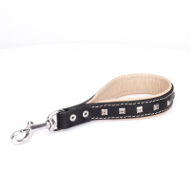 Short Dog Leash with Tan Lining and Silver Studs
