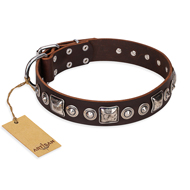 """Pierian spring"" FDT Artisan Soft Dog Collar of Brown Leather"