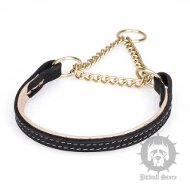 Staffy Collar of Nappa Lined Leather for Behavior Training