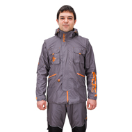 """Pro Jacket"" of Grey Waterproof Material with Lots of Pockets"