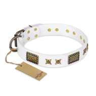 """Hour of Triumph"" FDT Artisan White Leather Dog Collar, 1.5"""